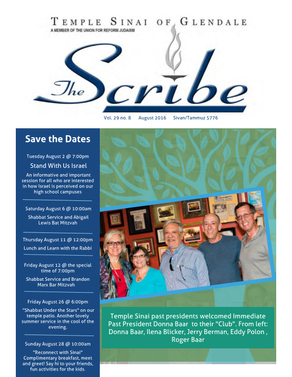 August Scribe Cover 2016