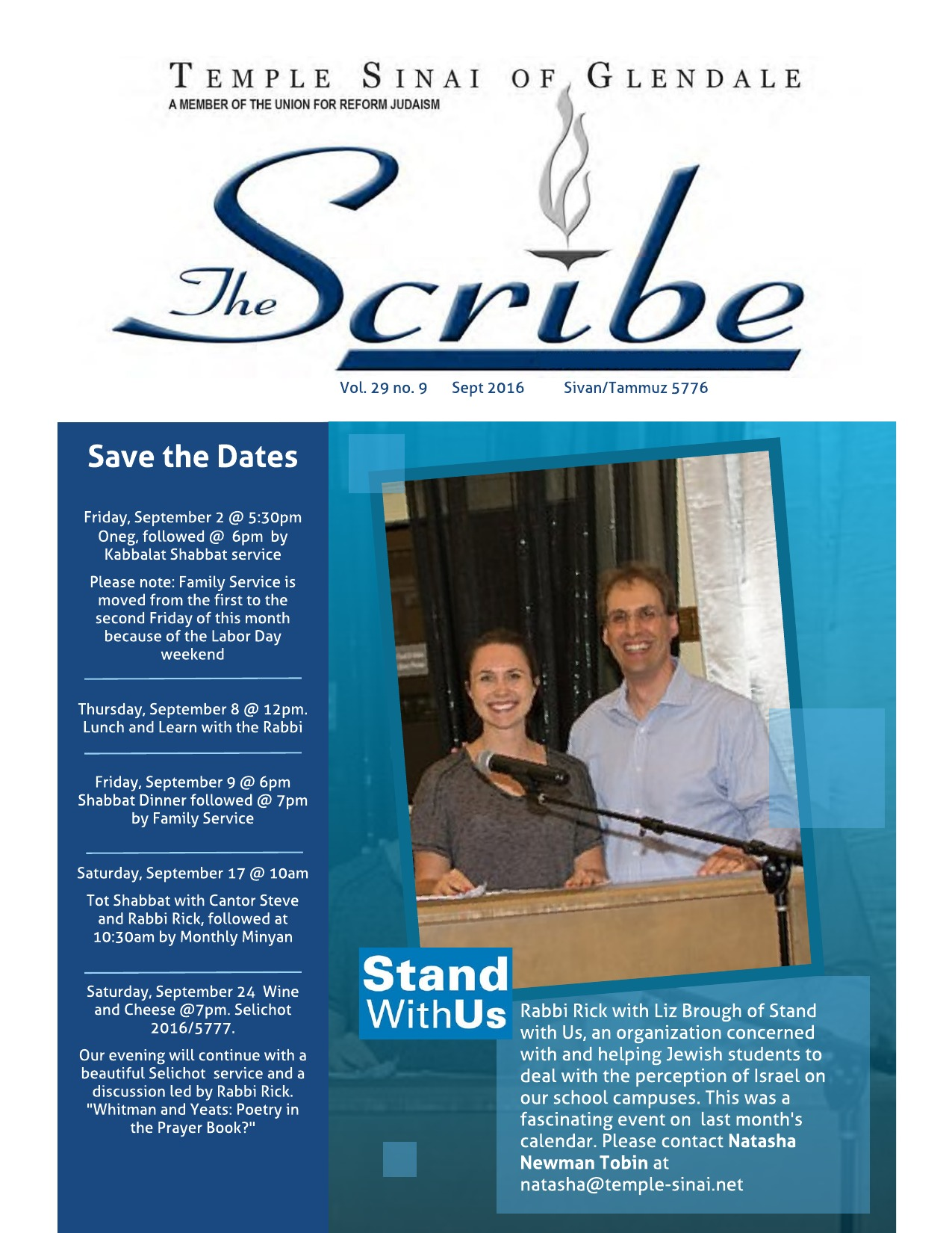 SCRIBE Sept 2016 Front Page