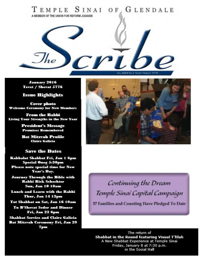 Scribe Jan 16 Cover