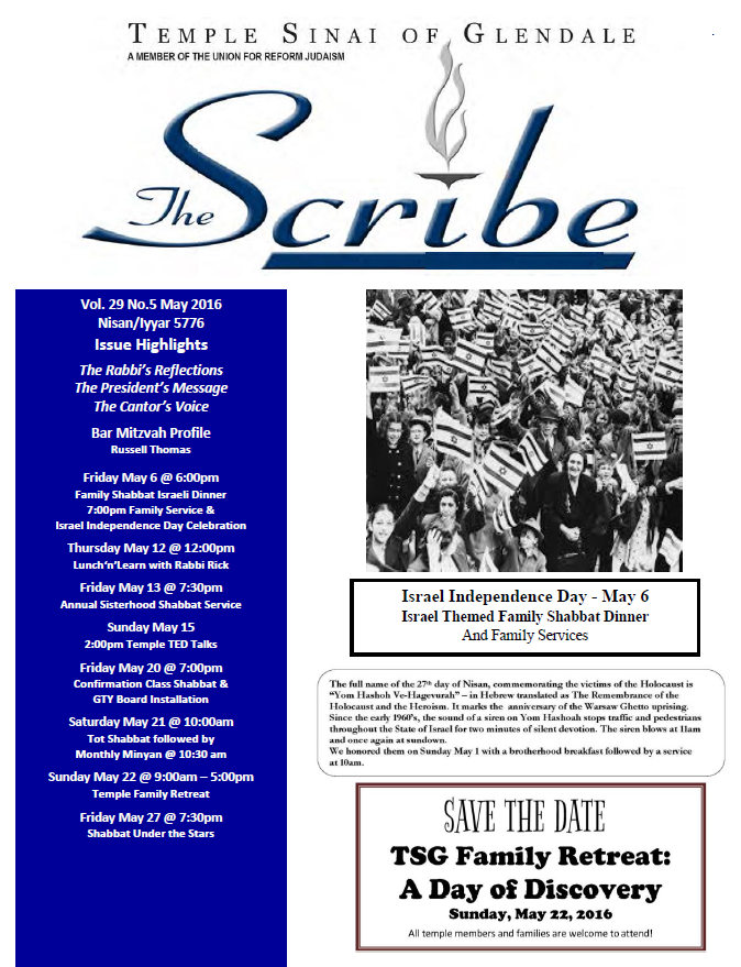 Scribe May 16 Cover