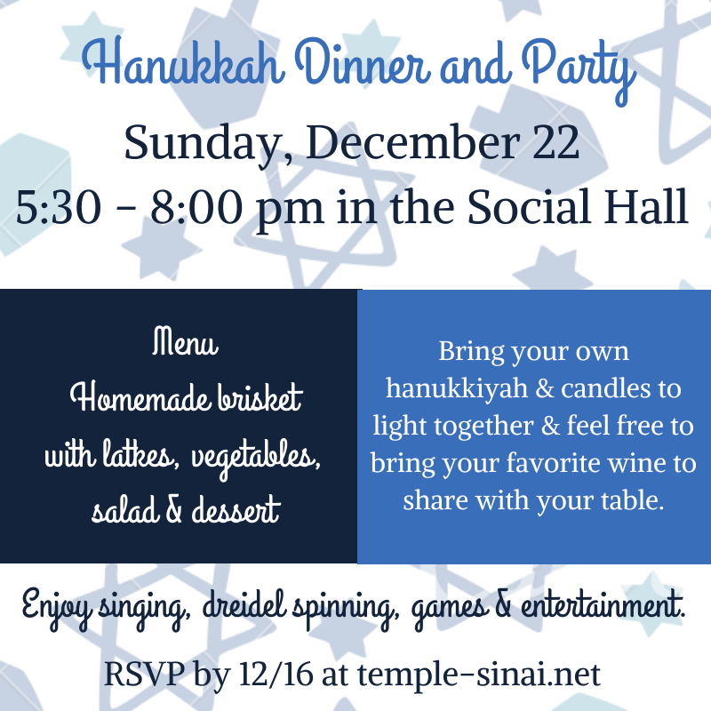 2019 Hanukkah Dinner and Party